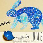 Mosaico de conejo con cascaras de huevo