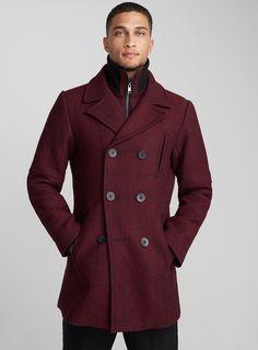 Heathered double-collar peacoat | Le 31 | Shop Mens Wool Coats, Trench Coats & Pea Coats in Canada | Simons