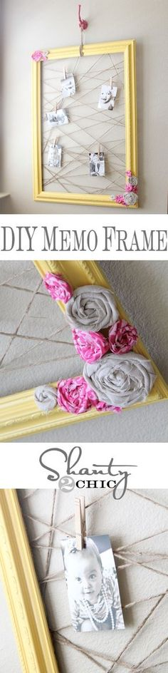 an old frame painted.. jute string at random.. and cute litl clothespins... a good Christmas gift??