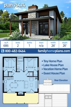 Guest House Plans, Cabin House Plans, Tiny House Cabin, Small House Plans, Small Modern Home, Modern Tiny House, Contemporary House Plans, Modern House Plans, Mountain Home Exterior