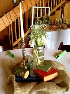 Vintage Books, Mason Jar, Wedding Centerpiece