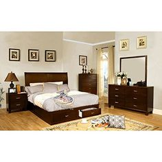 Brantley Contemporary Brown Cherry Finish Queen Size 6-Piece Bedroom Set |