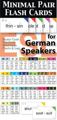 With this set you will have a flexible resource for assessments and to utilize in pronunciation activities. This 20 card set targets the most problematic pronunciation issues for German speakers of English as a second language.