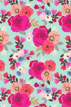 Hand painted Sweet Pea Floral Aqua design by Crystal Walen. Roses in peony, rose, bouquet, hot pink, peach, coral, aqua blue. Click to see more color and size options in fabric, wallpaper and gift wrap.