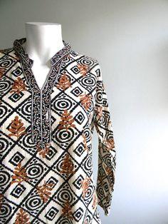 vintage. Black and White Indian Cotton Tunic / S M L. $52.25, via Etsy.