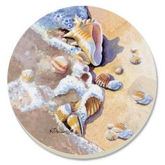 CounterArt Beach Shells Absorbent Coasters, Set of 4 by Counter Art. $12.65. Set of 4 absorbent coasters with attractive design marries artistic form with high function. Each coaster has a durable cork backing to protect countertops and furniture. To remove stains, soak coaster in 1 part household bleach and 3 parts water until stain lifts, then rinse and air dry. Holders available; look for counterart wood coaster holds ( sold separately). Coasters are natural ston...