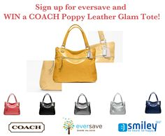 """Have you signed up for Eversave? Sign up at this link bit.ly/KVED87 and get $4 free (use the promo code """"Smiley"""") and the chance to win one of two $50 gift cards or a grand prize of this glamorous COACH bag worth $300!"""
