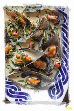 Cocinando... un abril encantado: Mejillones al gorgonzola... receta de Martín Berasategui