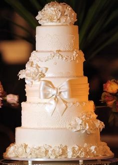 Wedding cakes, 5 andares, flores de açúcar, laço, branco, bolo de casamento, tradicional