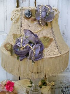 Lace Victorian lampshade shabby chic lavender by AnitaSperoDesign, $170.00