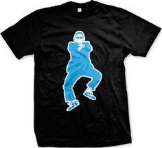 Oppan Gangnam Style Mens T-shirt Funny K-Pop Dancing Man Mens Tee Shirt Large Black