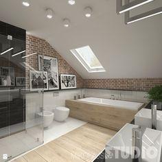Badezimmer Fliesen im Materialmix aus Holzoptik - Feinsteinzeug poliert und Mauerverblender in Ziegeloptik. #Badezimmer #Fliesen #Holzfliesen #Ziegelstein