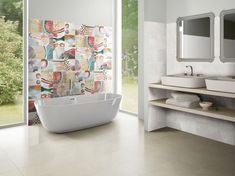 Barevná koupelna se vzory. House Tiles, Cement, Kitchen Decor, Marble, Porcelain, Bathtub, Ceramics, Wood Stone, Home
