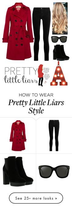 """""""REDCOAT A - PLL SERIES"""" by ecarri on Polyvore featuring Burberry, J Brand, Hogan, Linda Farrow and St. Nicholas Square"""