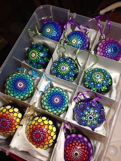 beautiful mandala ornaments Created by Kristin Uhrig Painted Christmas Ornaments, Christmas Tree Ornaments, Christmas Decorations, Ball Ornaments, Christmas Mandala, Christmas Art, Handmade Christmas, Dot Art Painting, Rock Painting Designs