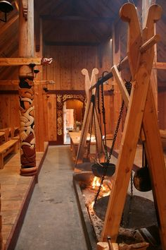 Mead Hall: #Viking #longhouse's interior, Stiklestadir 2010.