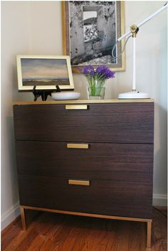 gold trim on the Ikea Tyrsil nightstand
