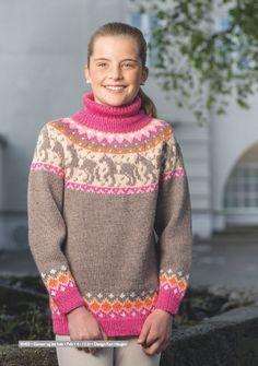 Dagens gratisoppskrift: Hjertehest   Strikkeoppskrift.com Knitting Patterns Free, Knit Patterns, Free Knitting, Lifestyle Clothing, Knitting For Kids, Beautiful Patterns, Kids Girls, Knit Crochet, Pullover