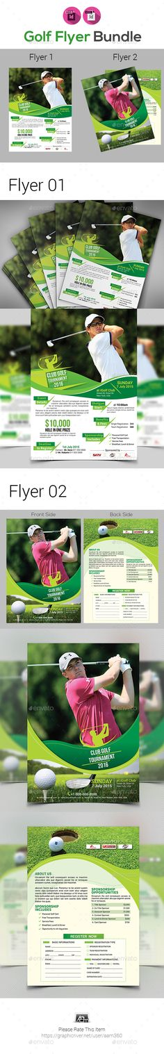 2 Golf Tournament Flyer Bundle - Sports Events