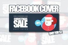 Christmas Sale Facebook Cover. Vintage Design. $2.00
