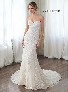 Lace slim A-line wedding dress with classic sweetheart neckline and optional cap-sleeves, Arlyn by Maggie Sottero.