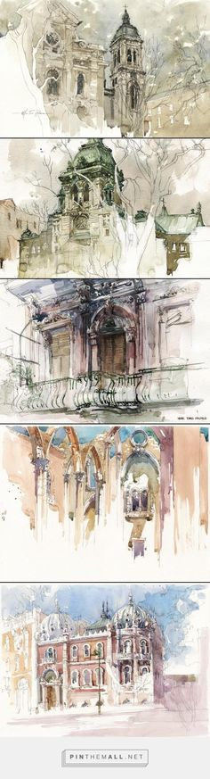 Marc Taro Holmes - created on Watercolor Sketch, Watercolor Artists, Watercolor Paintings, Watercolors, Voyage Sketchbook, Art Sketchbook, Watercolor Architecture, Architecture Drawings, A Level Art