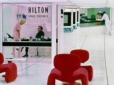 """Space Station Hilton, in A Space Odyssey,"""" which premiered 50 years ago this week: Stanley Kubrick, Sf Movies, 2001 A Space Odyssey, Aesthetic Space, Futuristic Interior, Space Station, Station 1, Movie Props, Movie Tv"""