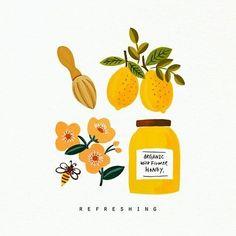 Honey and tea illustration Illustration Inspiration, Illustration Noel, Digital Illustration, Pencil Illustration, Motion Design, Ideas Scrapbook, Guache, Grafik Design, Food Illustrations