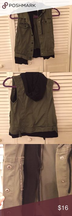 Hooded Olive Green Utility Vest Cute and adorable khaki olive green vest, lined with soft black sweatshirt material and a hood. Worn only a few times. In amazing condition. Tags: Kylie Jenner, Kendall Jenner, GiGi Hadid, Bella Hadid, Kim Kardashian, Kim K, Kanye West, Kanye, Kourtney, Khloe, Kylie Lip Kit, Kylie Cosmetics, Michael Kors, Victoria's Secret, VS Pink, Yeezy, Urban Decay Jackets & Coats Vests