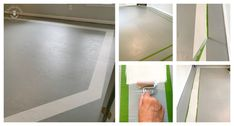 Tired of your nasty carpet? Paint your plywood subfloor then add a diamond pattern to it with FrogTape and a second paint color! Painting Plywood, Painted Plywood Floors, Plywood Subfloor, Painting Carpet, Painting Concrete, Concrete Lamp, Concrete Design, Stained Concrete, Laminate Flooring