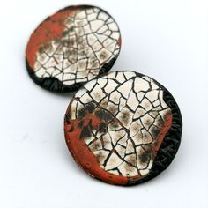 A pair of my most recent slow jewellery creations. Rankaku is a specific Urushi Lacquer technique, which involves meticulously shaping and placing of real eggshell to create the modern mosaic. Then layers of lacquer are built up over weeks and polished before the next is applied, resulting in something truly unique and special. Eggshell, Round Earrings, Mosaic, Layers, Unique Jewelry, Handmade Gifts, Shapes, Jewellery, Create