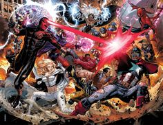 avengers vs x men.hmmmm i think i will be rooting for the x men. which side would you choose? Marvel 616, Marvel Comics, Marvel Avengers, Marvel Heroes, Quicksilver Marvel, Comic Book Artists, Comic Books Art, Comic Art, Marvel Universe