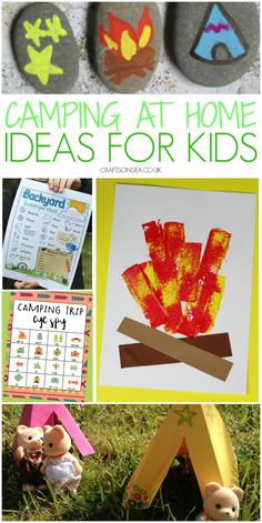 Easy camping crafts and activities for kids that you can do at home with campfire crafts, scavenger hunts, tent crafts and painted rock ideas Easy Art For Kids, Summer Crafts For Kids, Summer Kids, Campfire Crafts, Backyard Scavenger Hunts, Tent Craft, Non Toy Gifts, Plate Crafts, Camping With Kids