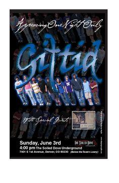 Denver poster for musical group, Giftid.