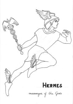 hermes coloring page greek god mythology unit study by lilatelrunya - Ancient Greek Gods Coloring Pages