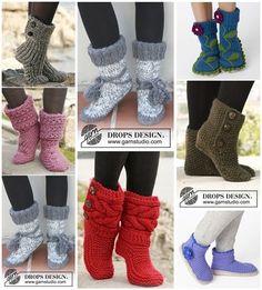 DIY 8 Knitted & Crochet Slipper Boots Free Patterns