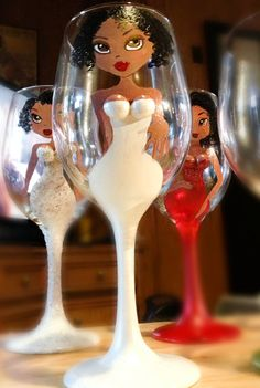 """Bridal Engagement Party Wedding Wine Glass """"He PUT A RING on it"""""""