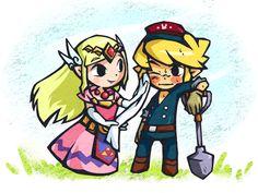 """Adorable """"Spirit Tracks"""" fan art!  I can imagine Zelda saying, """"Let me wipe your face, Link.  It's filthy!"""""""