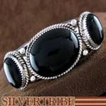Native American Onyx and Genuine Sterling Silver Navajo Indian Cuff Bracelet
