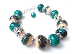 Handmade Beaded Lampwork Bracelet with Ivory and Dark Green Glass. Glass Pendants, Glass Beads, Tiny Necklace, Handmade Beads, Gifts For Wife, Bracelet Making, Cuff Bracelets, Cuffs, Ivory