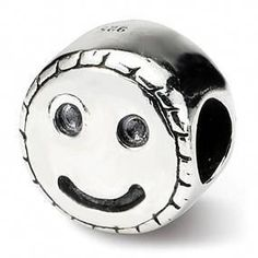 56db0746b Sterling Silver Kids Smiley Face Bead #greatgiftformysonanddaughter Sterling  Silver Charm Bracelet, Silver Charms,