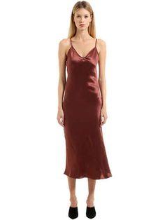 SIMON MILLER - SILK SATIN DRESS - DRESSES - BORDEAUX - LUISAVIAROMA - Spaghetti straps . V neck . Back zip closure . Sample size: 1