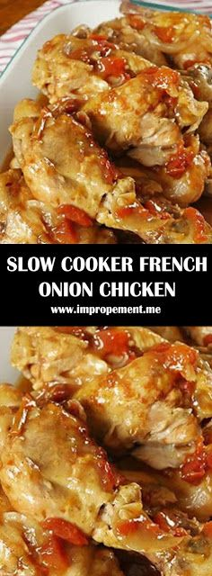 SLOW COOKER FRENCH ONION CHICKEN - my #recipes Crockpot Cabbage Recipes, Crockpot Chicken Healthy, Healthy Crockpot Recipes, Onion Recipes, 3 Ingredient Chicken Recipes, Slow Cooker Huhn, Crock Pot Slow Cooker, Slow Cooking, Gourmet