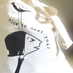 the nice to meet you shopping bag  shopper by manublu on Etsy, $12.00