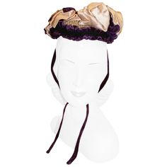 Vintage 1940's Charles James Attributed Couture Victorian Style Bonnet Hat | From a collection of rare vintage hats at https://www.1stdibs.com/fashion/accessories/hats/