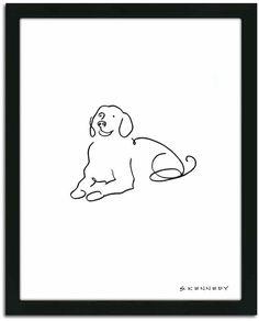 Golden Retriever Personal Prints ''Golden Retriever Line Drawing'' Framed Wall Art Line Artwork, Artwork Prints, Canvas Art Prints, Dog Line Drawing, Puppy Drawing, Drawing Frames, Line Illustration, Art Logo, Dog Art