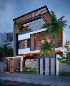 Ideas for house exterior design modern facades Bungalow House Design, House Front Design, Modern House Design, Modern Bungalow, Duplex House, Exterior Design, Modern Exterior, House Elevation, Front Elevation