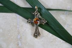 Vintage Goldtone Cross pendant with Topaz colored by TheHavenFinds
