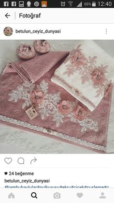 Silk Ribbon Embroidery, Hand Embroidery Designs, Designer Bed Sheets, Personalized Towels, Towel Crafts, Embroidered Towels, Decorative Towels, Elegant Home Decor, Bath Accessories
