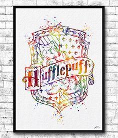 Crest watercolor print harry potter fine art print nursery art home decor. Décoration Harry Potter, Harry Potter Drawings, Harry Potter Universal, Watercolor Projects, Watercolor Print, Luna Lovegood, Origami, Hufflepuff Pride, Hufflepuff Bedroom